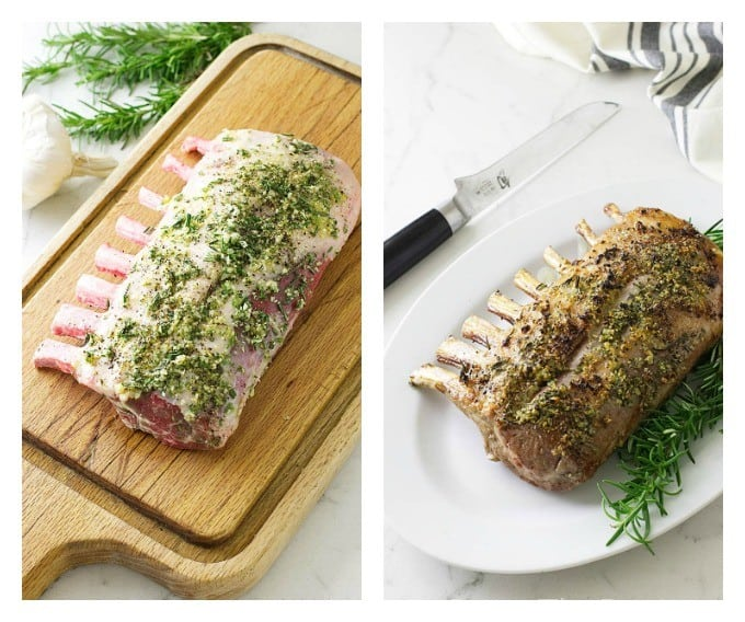 side by side photo showing how to prep the rack of lamb and when it is cooked