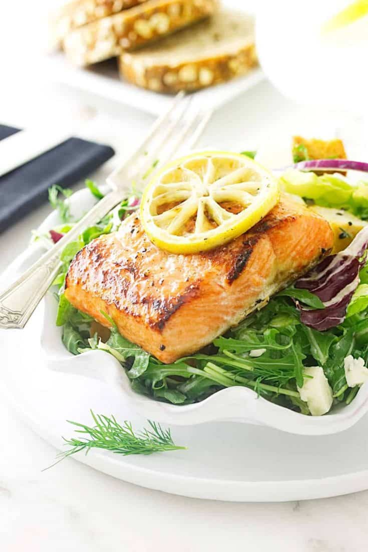 Herb Salmon Salad with Blue Cheese Dressing