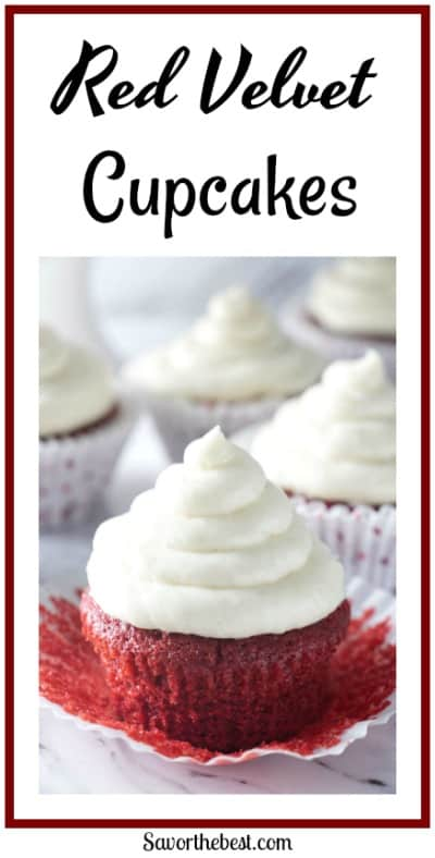 A light, moist and tender red velvet cupcake with a silky smooth cream cheese frosting