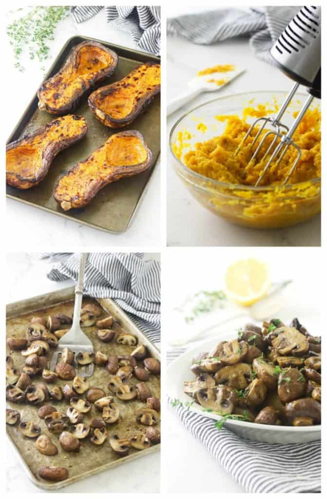 Roasted Garlic-Herb Mushrooms and Butternut Mash