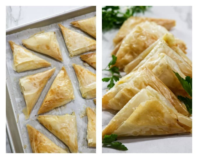 Greek Cheese Triangle Pies (Tiropita) collage