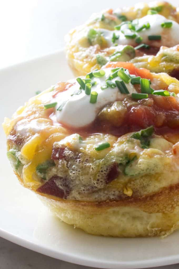 individual sized egg muffin cups with turkey bacon