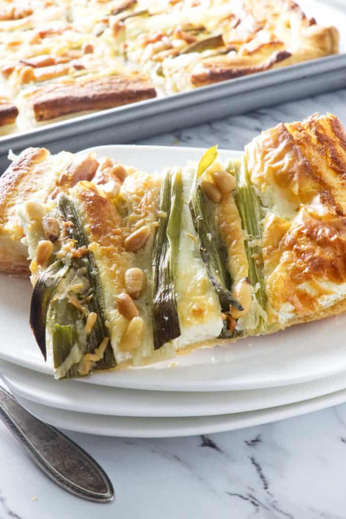 Green onion and Goat cheese tart