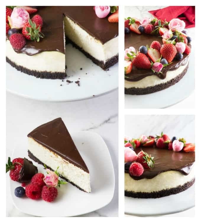 Bourbon vanilla cheesecake collage