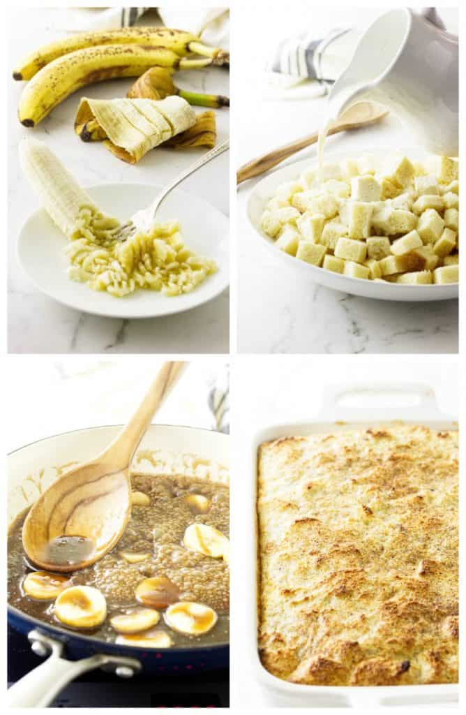 Bananas Foster Bread Pudding with Rum Sauce