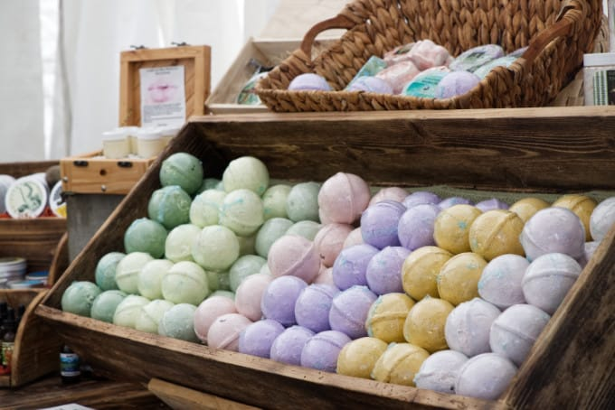 Bath bombs at a vender booth