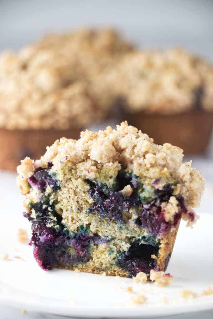 banana blueberry muffins with cinnamon crumb topping