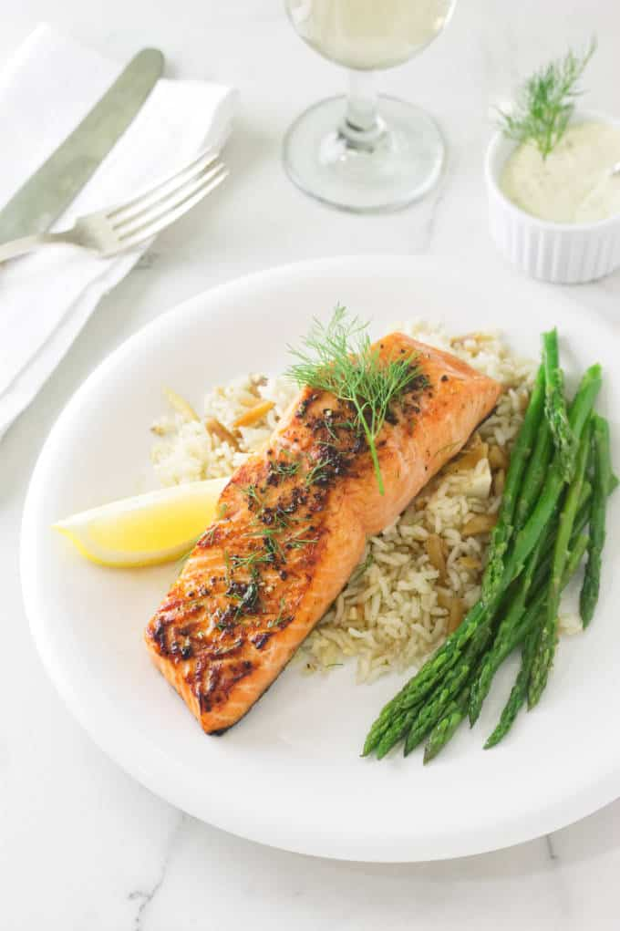 Broiled Copper River King Salmon