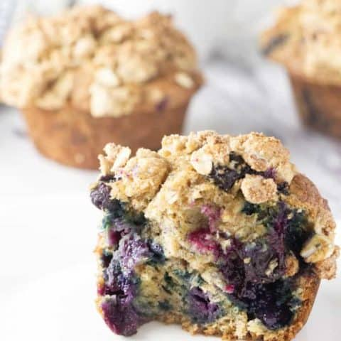 Healthy Banana Blueberry Muffins with Lemon Oatmeal Streusel