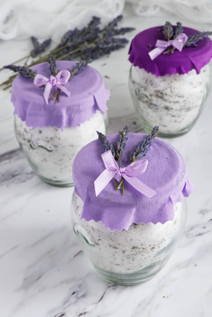 lavender infused sugar packaged for a gift