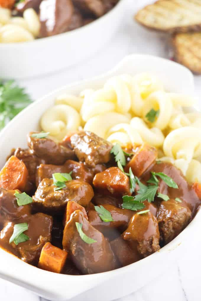 venison goulash with pasta