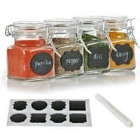 12 Pack - 3 Ounce Mini Clear Glass Spice Jar Container Set with Airtight Lids for Canning, Storage Jars for Tea, Spice, Kitchen Rack Glass Set w/Reusable Labels, Clear Containers for DIY Materials