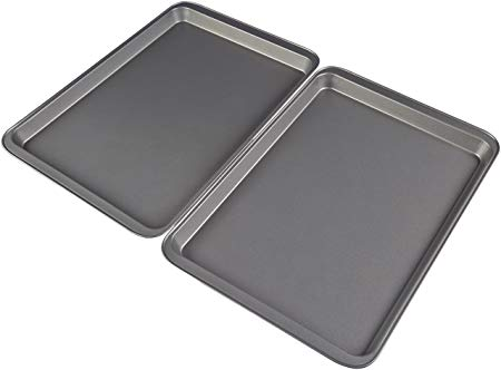 AmazonBasics Nonstick Carbon Steel Half Baking Sheet - 2-Pack