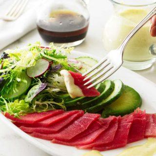 Ahi Tuna Sashimi Salad with Wasabi Emulsion