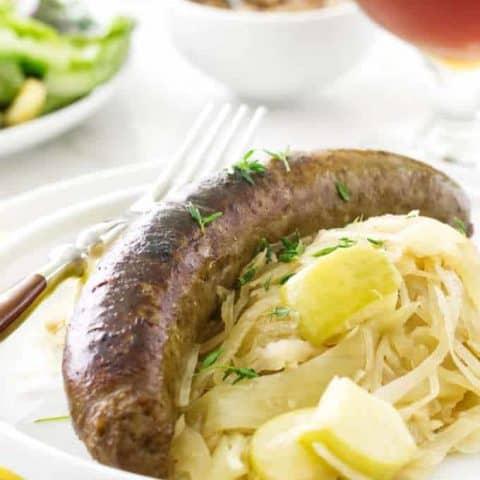 Ale Braised Bratwurst and Apple Sauerkraut