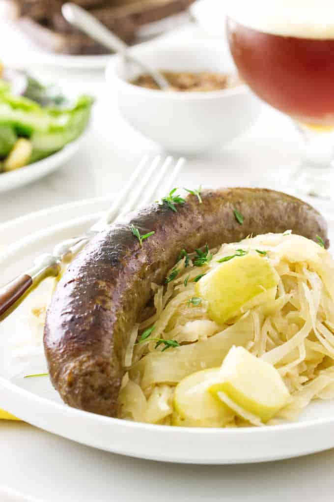 Ale Braised Bratwurst and Apple Sauerkraut
