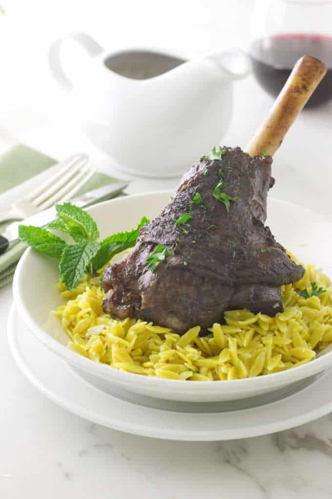 Slow Cooked Moroccan Lamb Shanks with Lemon-Garlic Orzo