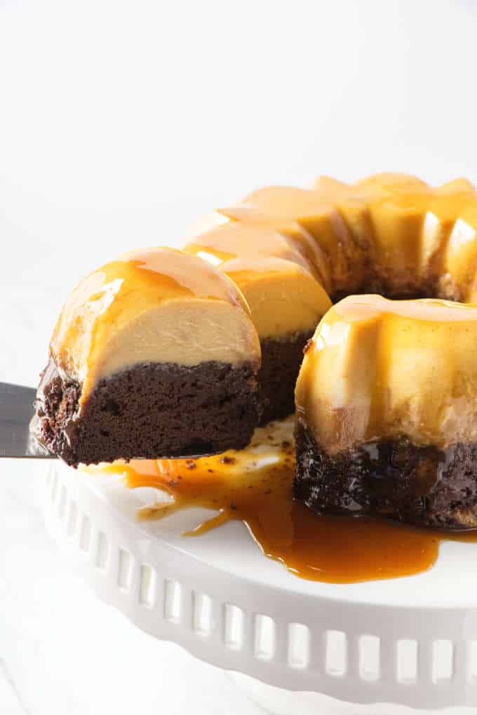 Chocoflan cake in a bundt pan