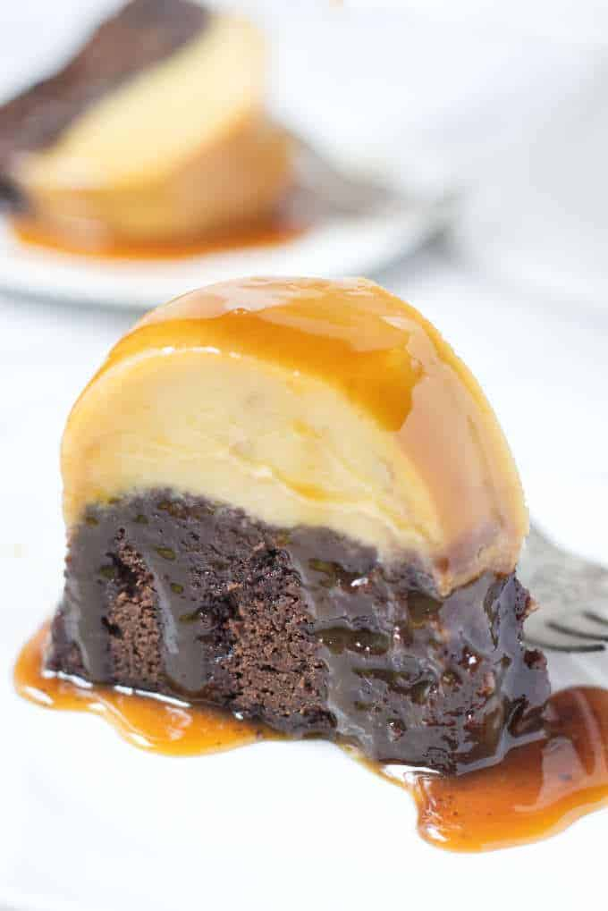 Chocoflan cake is a fudgy chocolate cake layered with a creamy, smooth caramel flan. The two layers get baked together in the same pan and magically switch places while baking. The cake is a fudgy chocolate butter cake and the flan is a cream cheese flan (also called Flan Napolitano).