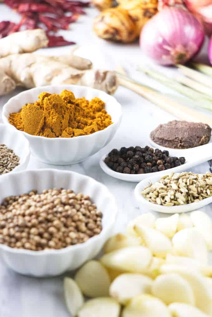 Ingredients for Thai yellow curry paste