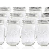 12 Ball Mason Jar with Lid - Regular Mouth - 16 oz by Jarden