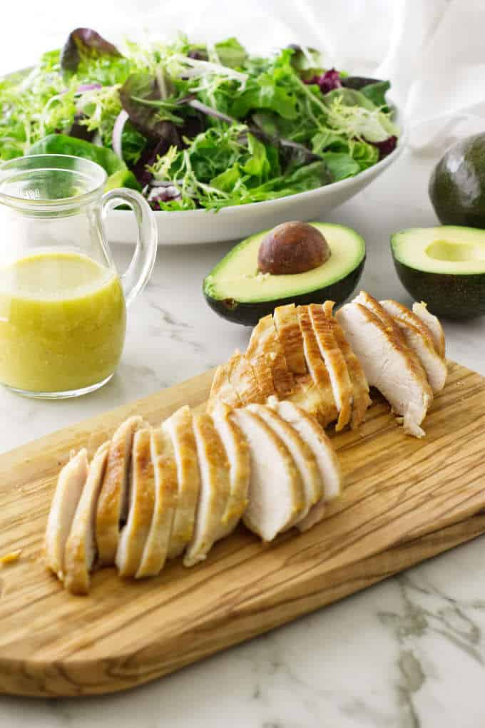 sliced chicken ready for the salad
