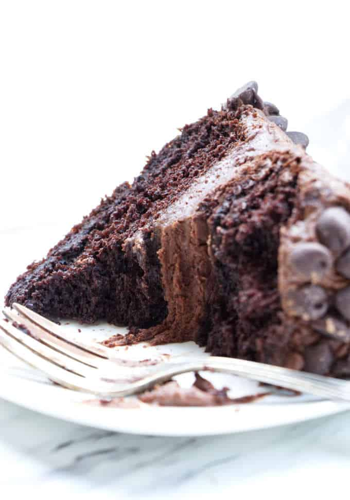 Gluten free chocolate cake partially eaten