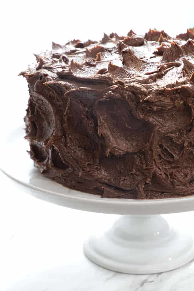 rich double chocolate cream cheese frosting covering a tender yellow cake