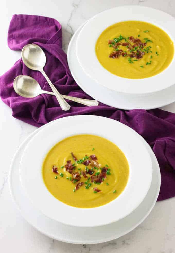 creamy Butternut squash Soup with Crisp Prosciutto