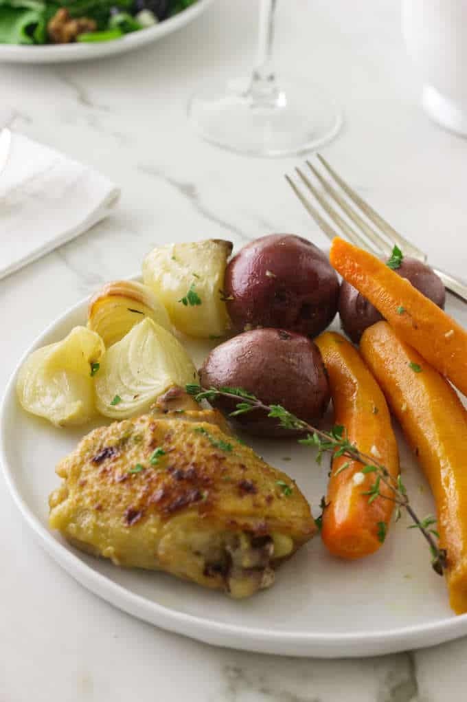 Chicken and Vegetables on a white plate
