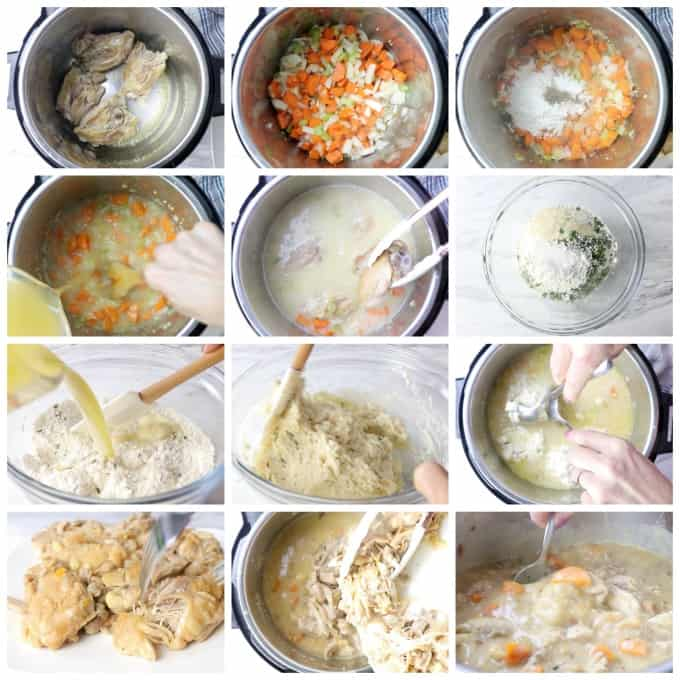 instant pot chicken and dumplings process photos