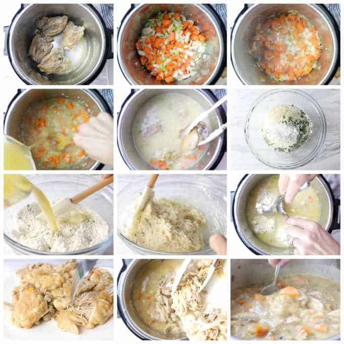 collage of 12 photos with process steps for making chicken and dumplings