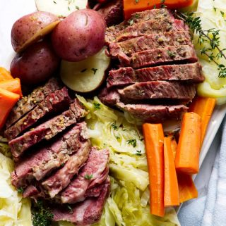 instant pot corned beef and cabbage on a serving plate