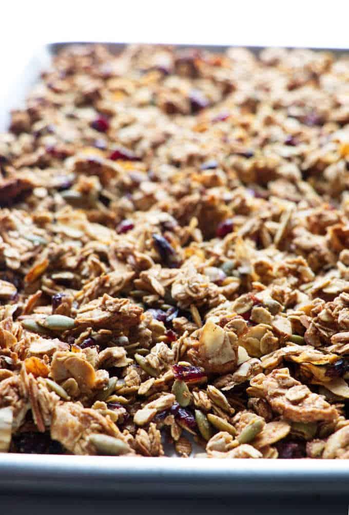 ancient grains granola on a sheet pan