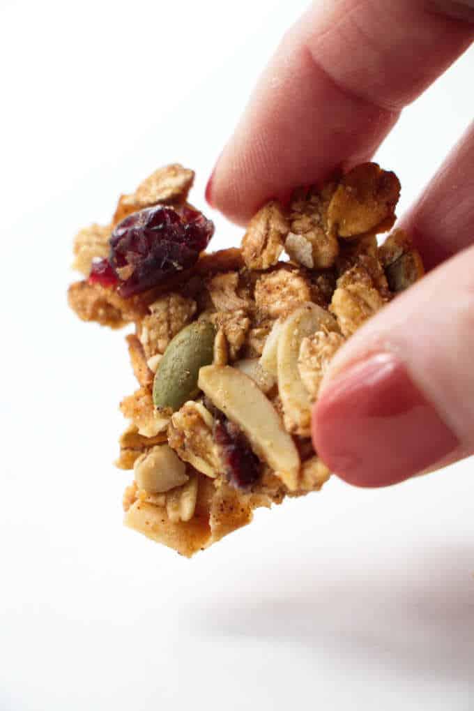 ancient grains apple cranberry granola close up