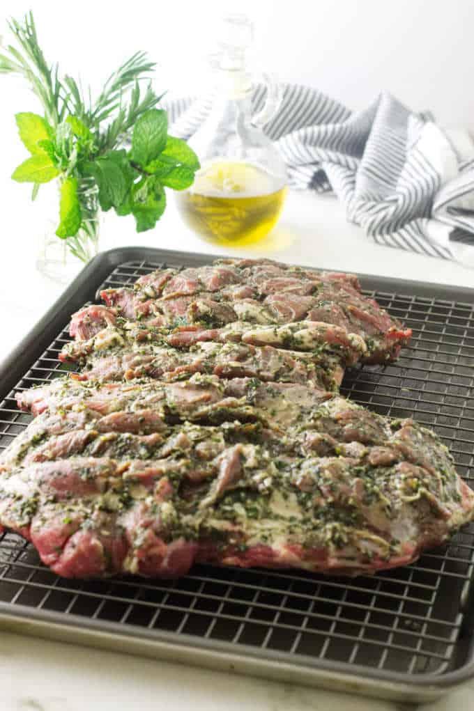Butterflied Leg of Lamb on a sheet pan