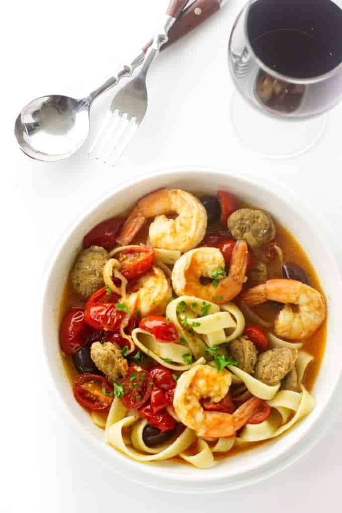 Spanish Chorizo and Shrimp Pasta