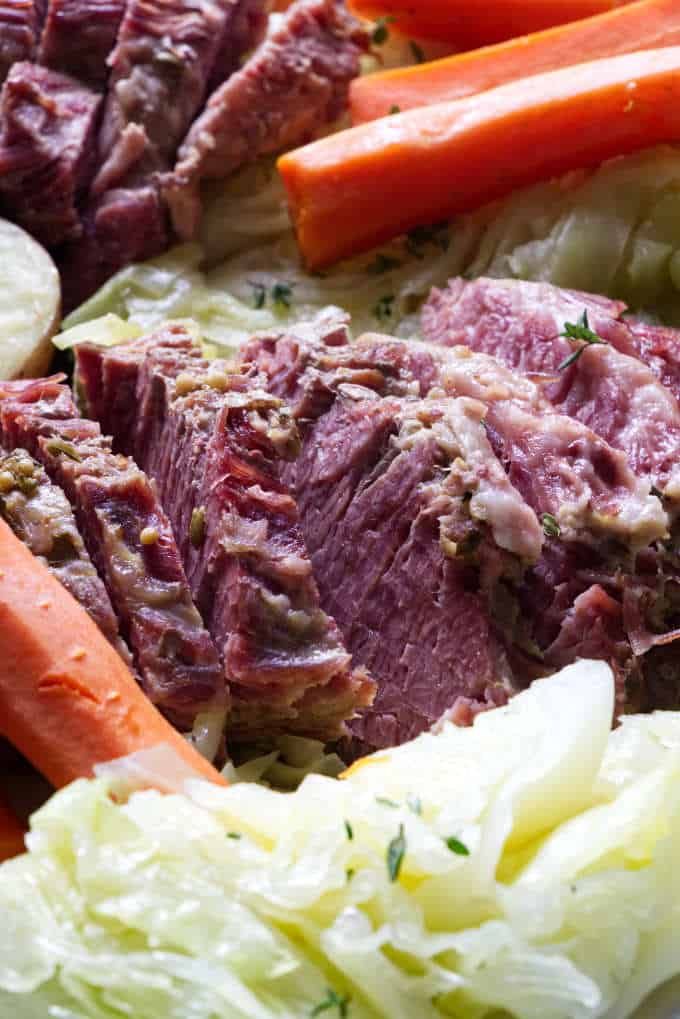 close up of instant pot corned beef and cabbage
