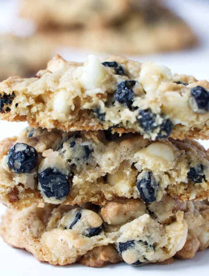 stack of blueberry granola cookies