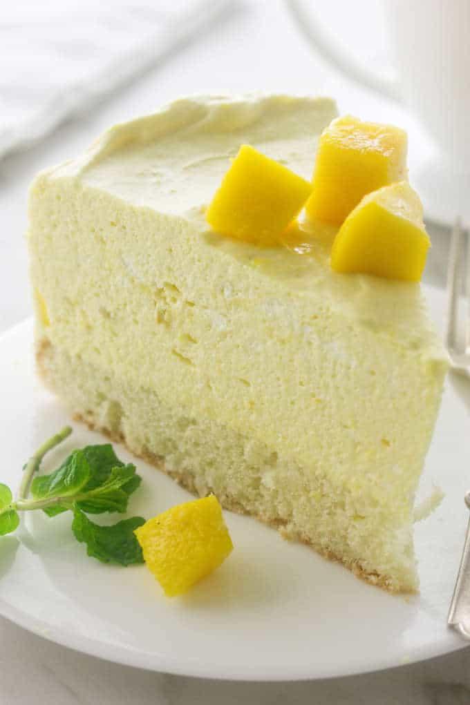 a slice of Mango Mousse Cake