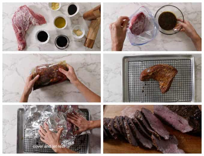 collage of process photos showing how to cook a tri tip roast in the oven