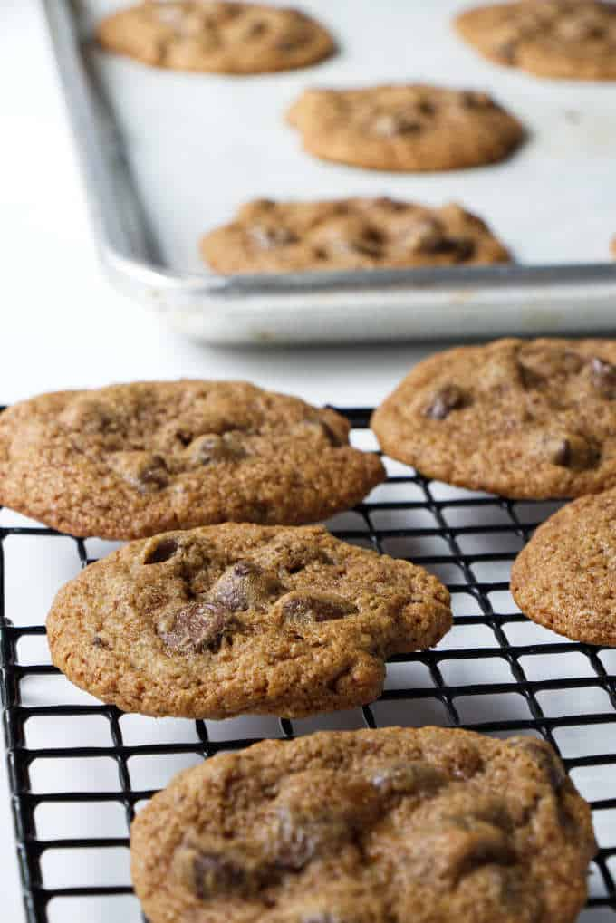 spelt chocolate chip cookies on a cooling rack