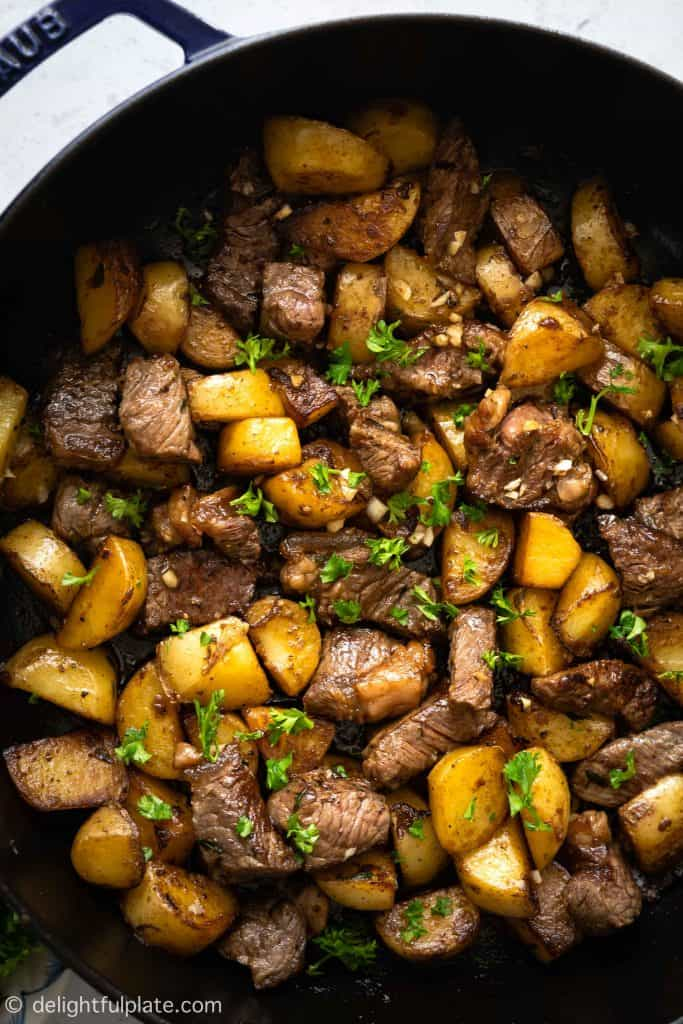 Asian Steak Bites and Potatoes