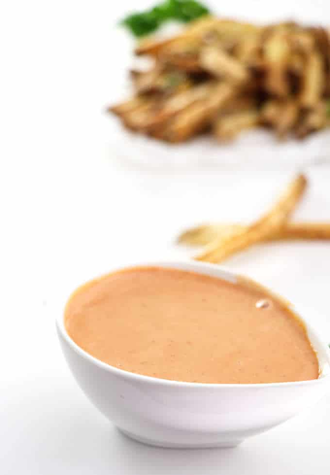 dish of fry sauce with fries in the background