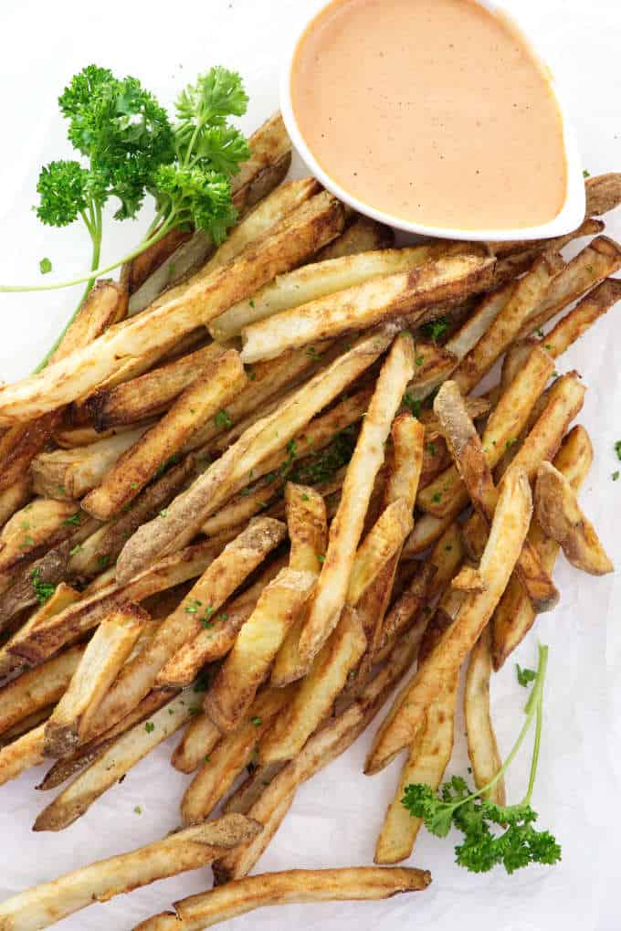 overhead photo of air fried French fries
