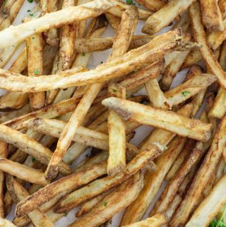 close up overhead photo of air fried French fries