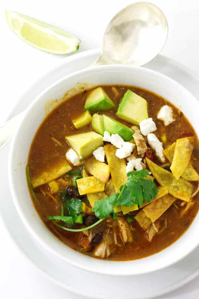 Overhead photo of a bowl of Chipotle Chicken Tortilla Soup