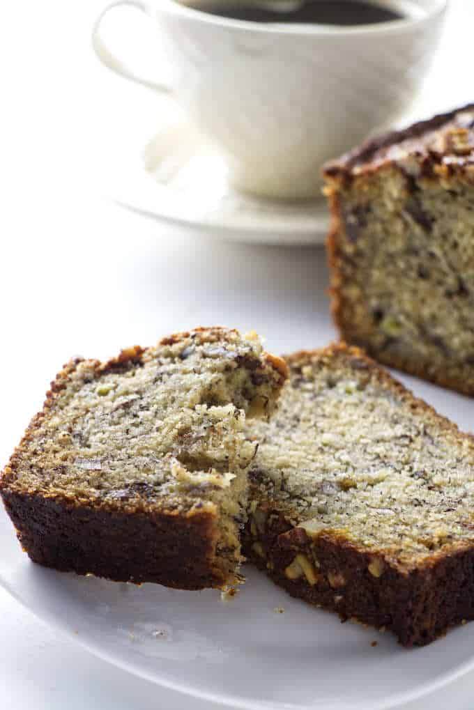 slice of banana bread ready to eat