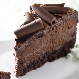 closeup of a slice of chocolate cheesecake