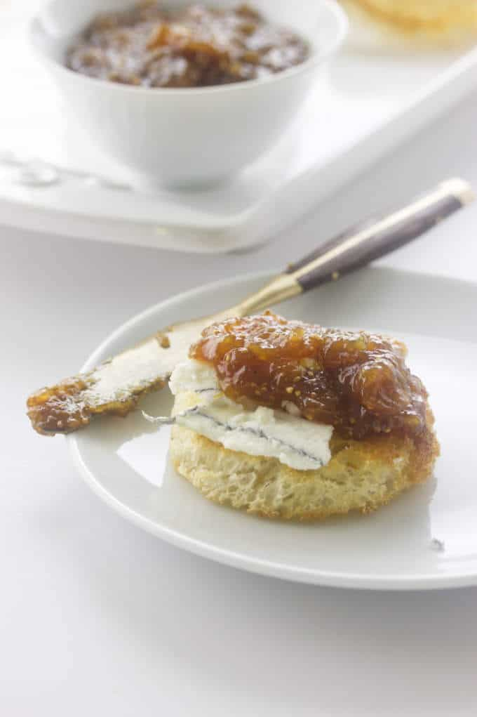 Fig Jam with aged goat cheese on crisp toast